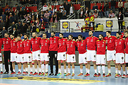 Team of Spain during anthems before the EHF 2018 Men's European Championship, 1/2 final Handball match between France and Spain on January 26, 2018 at the Arena in Zagreb, Croatia - Photo Laurent Lairys / ProSportsImages / DPPI