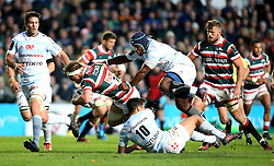 Brendon O'Connor of Leicester Tigers is tackled by Dan Carter of Racing 92 - Mandatory by-line: Robbie Stephenson/JMP - 23/10/2016 - RUGBY - Welford Road Stadium - Leicester, England - Leicester Tigers v Racing 92 - European Champions Cup