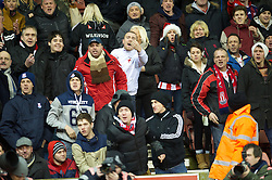 STOKE-ON-TRENT, ENGLAND - Boxing Day Wednesday, December 26, 2012: Stoke City supporters hurl abuse at Liverpool's Luis Alberto Suarez Diaz during the Premiership match at the Britannia Stadium. (Pic by David Rawcliffe/Propaganda)