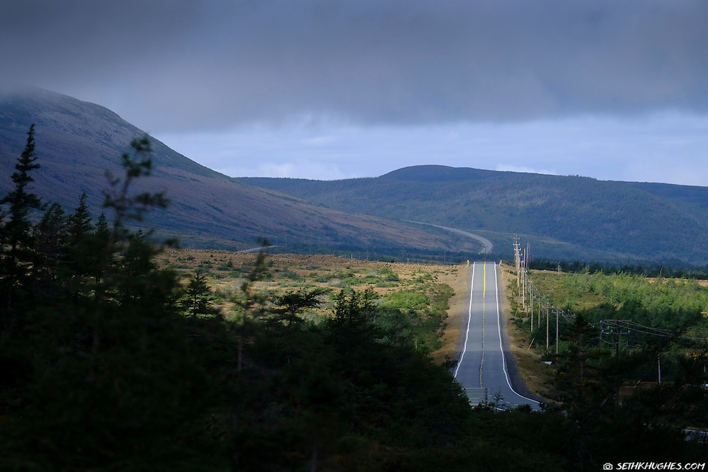 A road leads though the Tablelands in Gros Morne National Park, Canada.