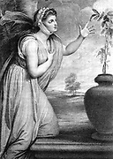 Emma, Lady Hamilton (c1765-1851) wife of Sir William Hamilton, mistress of Horatio Nelson. Here as 'Sensibility' (sensitive plant growing in urn), one of the 'Attitudes' she performed as tableaux. Stipple engraving after Romney.