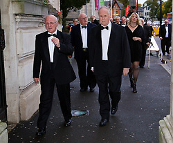 CARDIFF, WALES - Monday, October 5, 2015: Wales' Council Members Ken Tucker and John Harris arrive for the FAW Awards Dinner Dinner at Cardiff City Hall. (Pic by David Rawcliffe/Propaganda)