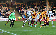 Dundee&rsquo;s James McPake is crowded out - Motherwell v Dundee - Ladbrokes Premiership at Fir Park<br /> <br /> <br />  - &copy; David Young - www.davidyoungphoto.co.uk - email: davidyoungphoto@gmail.com