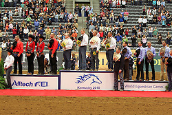 Podium Team Competition Reining 1 Team USA Mcquay Tim - Hollywoodstinseltown, Schmersal Craig - Mister Montana NIC, Mccutcheon Tom - Gunners Special Nite, Flarida Shawn - RC Fancy Step 2 team Belgium Boogaerts Jan - Gumpy Grumpy BB, Poels Ann - Whizdom Shines, Baeck Cira - Peek a Boom, Fonck Bernard - BA Reckless Chick 3 team Italy Ricotta Marco - Smart and Shiney, Massignan Stefano - Yellow Yersey, Carmignani Dario - Red Chic Peppy, Brunelli Nicola - Spat a Blue<br /> Alltech FEI World Equestrian Games <br /> Lexington - Kentucky 2010<br /> © Dirk Caremans