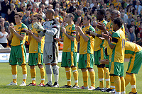 Photo: Ashley Pickering.<br /> Norwich City v Southampton. Coca Cola Championship. 28/04/2007.<br /> The Norwich team observe a minute of clapping in memory of Alan Ball