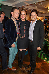 Left to right, MATTHEW WILLIAMSON, LINDSAY LOHAN and EGOR TARABASOV at the Duresta For Matthew Williamson Exclusive Launch At Harrods, Knightsbridge, London on 10th March 2016.