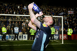 Jay O'Shea of Bury celebrates after the final whistle of the match - Mandatory by-line: James Healey/JMP - 30/04/2019 - FOOTBALL - Prenton Park - Birkenhead, England - Tranmere Rovers v Bury - Sky Bet League Two