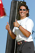 Dee Caffrey gives the thumbs up during her first shakedown sail aboard Aviva in Wellington Harbour. 1/1/2008