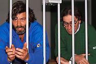 Roma 1987..Brigate Rosse.Processo Moro-ter, Aula bunker del Foro Italico. Francesco Piccioni.e Prospero Gallinari