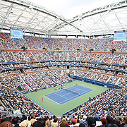 A general view of Arthur Ashe Stadium as Flavia Pennetta, Italy, takes on Roberta Vinci, Italy, in the Women's Singles Final match during the US Open Tennis Tournament, Flushing, New York, USA. 12th September 2015. Photo Tim Clayton