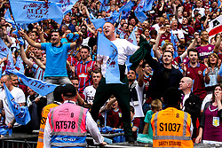 Aston Villa fans celebrate winning promotion to the Premier League after their side beat Derby County in the Sky Bet Championship Playoff Final - Mandatory by-line: Robbie Stephenson/JMP - 27/05/2019 - FOOTBALL - Wembley Stadium - London, England - Aston Villa v Derby County - Sky Bet Championship Play-off Final