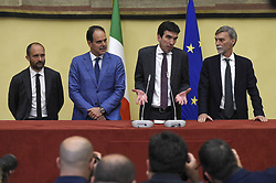 Italy, Rome - April 24, 2018.Acting Secretary of the Democratic Party, Maurizio Martina, third from right, with Andrea Marcucci, second from left, Graziano Delrio, right, and Matteo Orfini, left, talk to the media after a meeting with Lower House Speaker Roberto Fico for a round of consultations over the possibility to form a new government. (Credit Image: © Mistrulli/Fotogramma/Ropi via ZUMA Press)