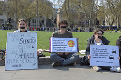 Members of the UK Youth Climate Coalition (UKYCC) staged a silent protest to show how their voices have been shut out of the debate on fracking. The group ask for fracking to be banned for good. <br /> <br /> Richard Hancox | EEm 14042019