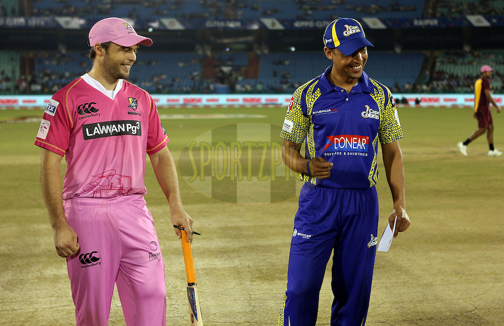 Justin Ontong captain of Cape Cobras  and Daniel Flynn Captain of Northern Knights during the toss of the  match 3 of the Oppo Champions League Twenty20 between the Cape Cobras and the Northern Knights held at the Chhattisgarh International Cricket Stadium, Raipur, India on the 19th September 2014<br /> <br /> Photo by:  Sandeep Shetty / Sportzpics/ CLT20<br /> <br /> <br /> Image use is subject to the terms and conditions as laid out by the BCCI/ CLT20.  The terms and conditions can be downloaded here:<br /> <br /> http://sportzpics.photoshelter.com/gallery/CLT20-Image-Terms-and-Conditions-2014/G0000IfNJn535VPU/C0000QhhKadWcjYs