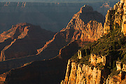 Early morning light on Rama Shrine and Vishnu Temple. Grand Canyon National Park in Arizona.
