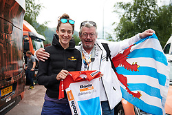 Christine Majerus (LUX) gives a jersey to a Luxembourg fan who's following the Giro Rosa at Giro Rosa 2018 - Stage 7, a 15 km individual time trial from Lanzada to Alpe Gera di Campo Moro, Italy on July 12, 2018. Photo by Sean Robinson/velofocus.com
