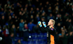 Kasper Schmeichel of Leicester City celebrates Riyad Mahrez of Leicester City scoring a goal to make it 2-0 - Mandatory by-line: Robbie Stephenson/JMP - 28/11/2017 - FOOTBALL - King Power Stadium - Leicester, England - Leicester City v Tottenham Hotspur - Premier League