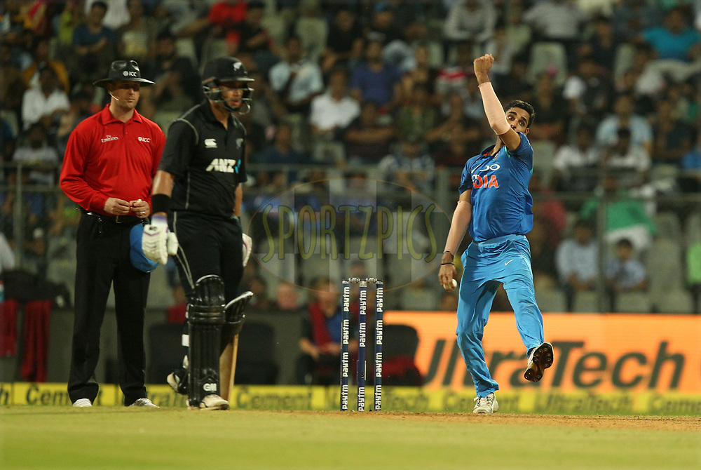 Bhuvneshwar Kumar of India during the 1st One Day International match between India and New Zealand held at the Wankhede Stadium in Mumbai on the 22nd October 2017Photo by Prashant Bhoot / BCCI / SPORTZPICS
