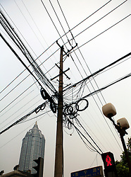 CHINA JIANGSU PROVINCE WUXI 20MAY10 - Electric power lines in downtown Wuxi, Jiangsu Province, China...jre/Photo by Jiri Rezac..© Jiri Rezac 2010