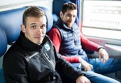 Nik Pem and Gasper Kroselj during departure to Budapest of Slovenian Ice Hockey National Team, on April 17, 2017 in Railway station, Ljubljana, Slovenia. Photo by Vid Ponikvar / Sportida