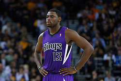 April 10, 2011; Oakland, CA, USA;  Sacramento Kings point guard Tyreke Evans (13) before a free throw against the Golden State Warriors during the first quarter at Oracle Arena. Sacramento defeated Golden State 104-103.