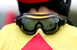 A general view of muddy goggles during Midlands Raceday at Warwick Racecourse.