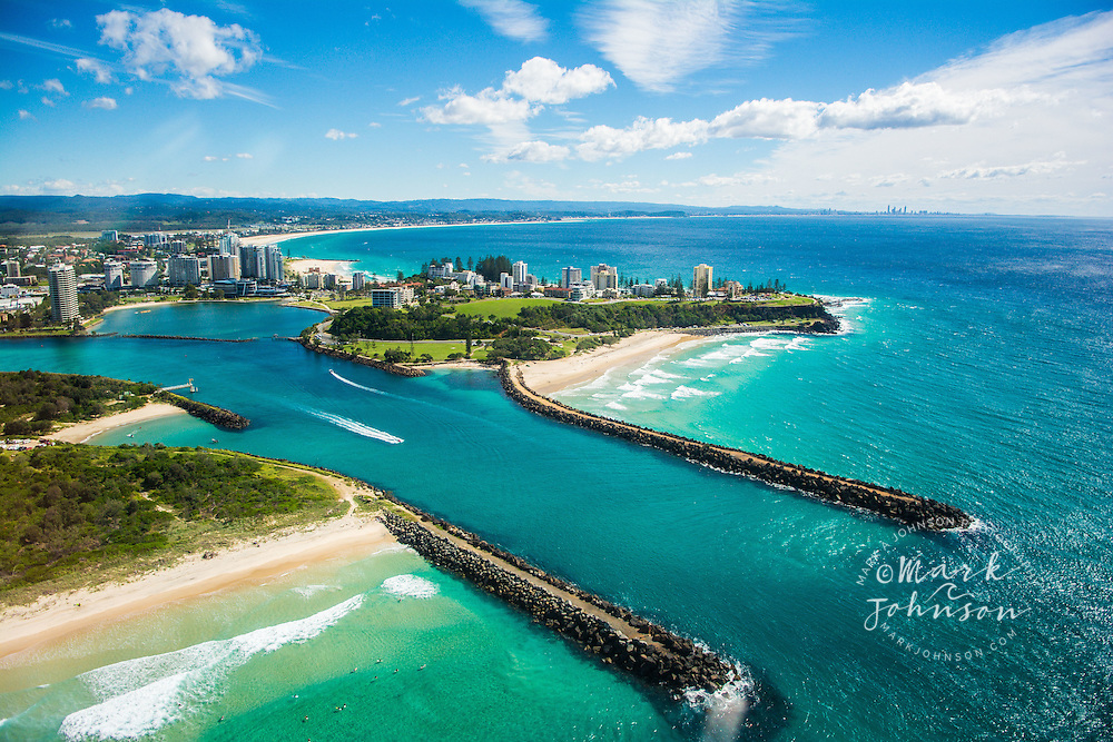 Aerial of Duranbah beach & Pt. Danger on the New South Wales/Gold Coast border, Australia