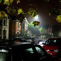 night, street, scene, rain, night, trees, leaves, park, cars, dawn, afluent, Cowes, Isle of Wight, England, UK,
