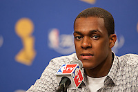 03 June 2010: Guard Rajon Rondo of the Boston Celtics speaks to the media after the Los Angeles Lakers 102-89 victory over the Celtics in Game 1 of the NBA Finals at the STAPLES Center in Los Angeles, CA.