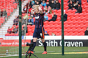 Blackpool forward Mark Cullen (9) can't believe he's missed during the Sky Bet League 1 match between Doncaster Rovers and Blackpool at the Keepmoat Stadium, Doncaster, England on 28 March 2016. Photo by Simon Davies.