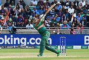 Sabbir Rahman of Bangladesh swings and misses during the ICC Cricket World Cup 2019 match between Bangladesh and India at Edgbaston, Birmingham, United Kingdom on 2 July 2019.
