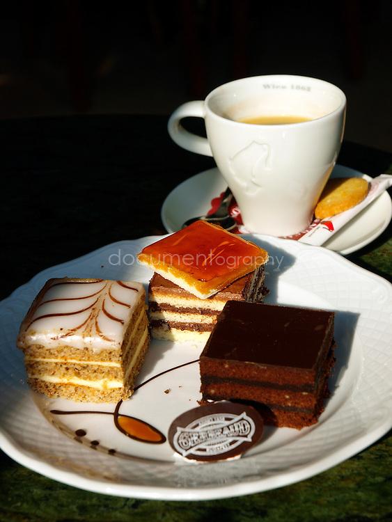 Assortment of cake at Café Gerbeaud, Budapest, Hungary.