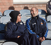 Injured but still smiling, Dundee's Rhys Weston shares a laugh with former Dens captain Gary Harkins, now of Kilmarnock - Dundee v Kilmarnock, William Hill Scottish FA Cup 4th Round,..- © David Young - .5 Foundry Place - .Monifieth - .DD5 4BB - .Telephone 07765 252616 - .email; davidyoungphoto@gmail.com - .web; www.davidyoungphoto.co.uk.