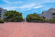 Santa Marta, Colombia-- April 22, 2018. Lovers Park in Santa Marta, Columbia is nearly empty in the early afternoon.  Editorial use only.
