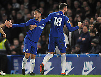 Football - 2017 / 2018 Premier League - Chelsea vs. West Bromwich Albion<br /> <br /> Olivier Giroud of Chelsea celebrates with goalscorer Eden Hazard at Stamford Bridge.<br /> <br /> COLORSPORT/ANDREW COWIE