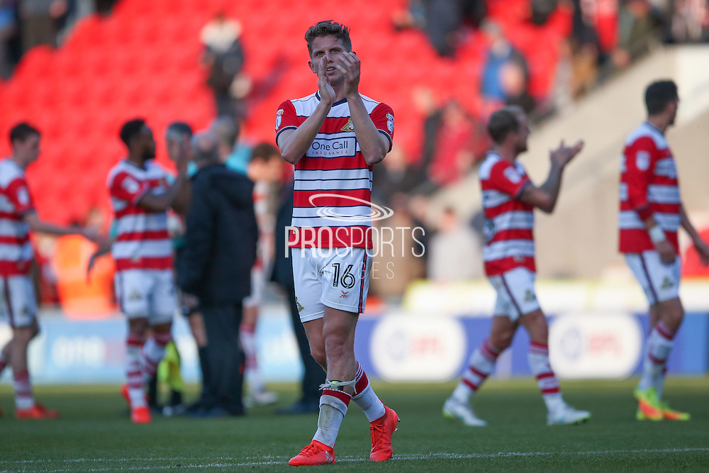 Doncaster Rovers midfielder, on loan from Chelsea, Jordan Houghton (16)  applauds the fans at the final whistle during the EFL Sky Bet League 2 match between Doncaster Rovers and Colchester United at the Keepmoat Stadium, Doncaster, England on 15 October 2016. Photo by Simon Davies.