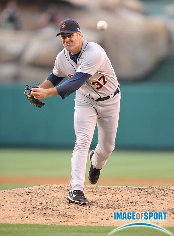 May 26, 2008; Anaheim, CA, USA; Detroit Tigers starter Kenny Rogers (37) pitches during 1-0 loss in 12 innings to the Los Angeles Angels at Angel Stadium. Mandatory Credit: Kirby Lee/Image of Sport-US PRESSWIRE