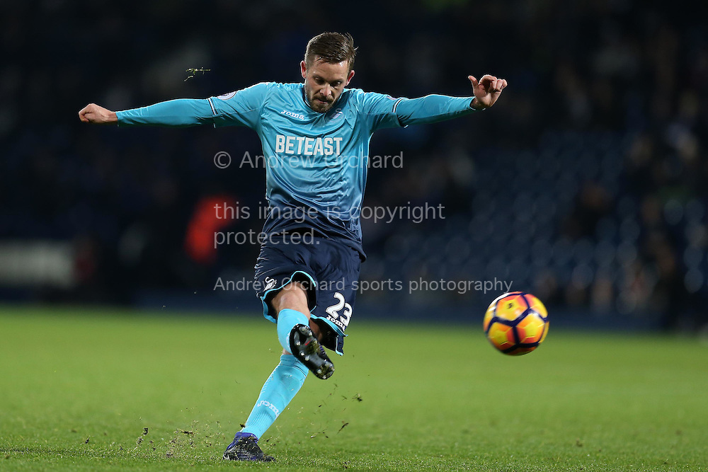 Gylfi Sigurdsson of Swansea city in action. Premier league match, West Bromwich Albion v Swansea city at the Hawthorns stadium in West Bromwich, Midlands on Wednesday 14th December 2016. pic by Andrew Orchard, Andrew Orchard sports photography.