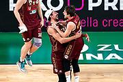 ILCE-9M2 • FE 400mm F2.8 GM OSS<br /> f/4 • ISO 2500 • 1/1250<br /> <br /> Esultanza Vittoria<br /> Umana Reyer Venezia - Happy Casa Brindisi<br /> LBA Final Eight 2020 Zurich Connect - Finale<br /> Basket Serie A LBA 2019/2020<br /> Pesaro, Italia - 16 February 2020<br /> Foto Mattia Ozbot / CiamilloCastoria