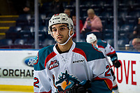 KELOWNA, CANADA - JANUARY 26: Matt Barberis #22 of the Kelowna Rockets warms up against the Vancouver Giants  on January 26, 2019 at Prospera Place in Kelowna, British Columbia, Canada.  (Photo by Marissa Baecker/Shoot the Breeze)