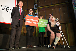 "© Licensed to London News Pictures . 15/04/2016 . Manchester , UK . People on stage greet Boris Johnson as he arrives to speak at a "" Vote Leave "" rally at Old Granada Studios , in Manchester . Photo credit: Joel Goodman/LNP"
