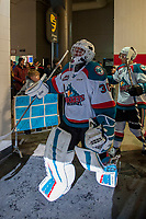 KELOWNA, CANADA - DECEMBER 30: Roman Basran #30 of the Kelowna Rockets heads for the ice against the Victoria Royals on December 30, 2017 at Prospera Place in Kelowna, British Columbia, Canada.  (Photo by Marissa Baecker/Shoot the Breeze)  *** Local Caption ***