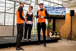 28-03-2018 NED: Kickstart Food van Rabobank, Utrecht<br /> A clever mix of the tastiest seasonal vegetables for the sports public, coming from Dutch local companies. That is the core of the new food program that enables Rabobank and the Nevobo at the Moestuin in Utrecht / (L-R) Alexander Brouwer, presenter Sofie van den Enk, Robert Meeuwsen