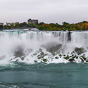 Niagara Falls is the collective name for three waterfalls that straddle the international border between Canada and the United States.