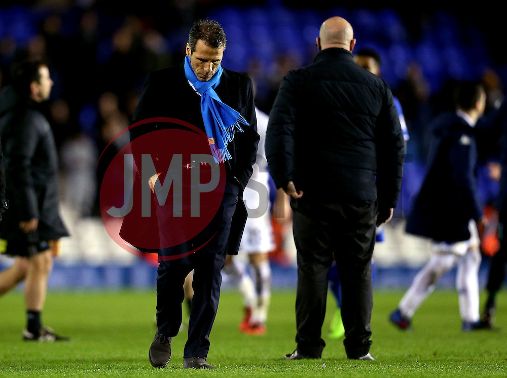 Birmingham City manager Gianfranco Zola cuts a dejected figure after the defeat to Leeds United - Mandatory by-line: Robbie Stephenson/JMP - 03/03/2017 - FOOTBALL - St Andrew's Stadium - Birmingham, England - Birmingham City v Leeds United - Sky Bet Championship