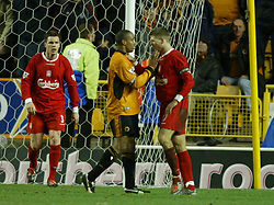 WOLVERHAMPTON, ENGLAND - Wednesday, January 21st, 2004: Liverpool's Steven Gerrard squares up to Wolverhampton Wanderers' Paul Ince during the Premiership match at Molineux. (Pic by David Rawcliffe/Propaganda)