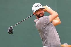 August 25, 2018 - Paramus, NJ, U.S. - PARAMUS, NJ - AUGUST 25:   Adam Hadwin of Canada plays his shot from the first tee  during the third round of The Northern Trust on August 25, 2018 at the Ridgewood Championship Course in Ridgewood, New Jersey.   (Photo by Rich Graessle/Icon Sportswire) (Credit Image: © Rich Graessle/Icon SMI via ZUMA Press)