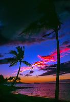Sunset at Makena Beach, Molokini in background, Maui, Hawaii USA