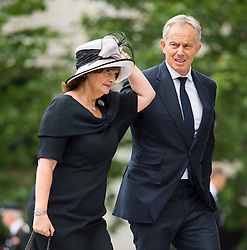 © Licensed to London News Pictures. 07/07/2015. London, UK. Former Britsh prime minister TONY BLAIR and wife CHERIE BLAIR. A church service held at St Paul's Cathedral In London on the 10th anniversary of the 7/7 bombings in London which killed 52 civilians and injured over 700 more.  Photo credit: Ben Cawthra/LNP