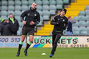 Forest Green Rovers Farrend Rawson(6) and Forest Green Rovers George Williams(11) warming up during the EFL Sky Bet League 2 match between Yeovil Town and Forest Green Rovers at Huish Park, Yeovil, England on 8 December 2018.